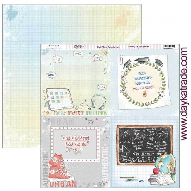 Papel Estampado Doble Cara 12x12 School Cuatro partes