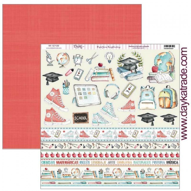 Papel Estampado Doble Cara 12x12 School Recortables y tiras