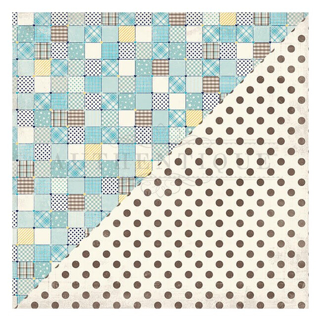 Papel Estampado Doble Cara 12x12 Swaddle Boy #1 Block Quilt