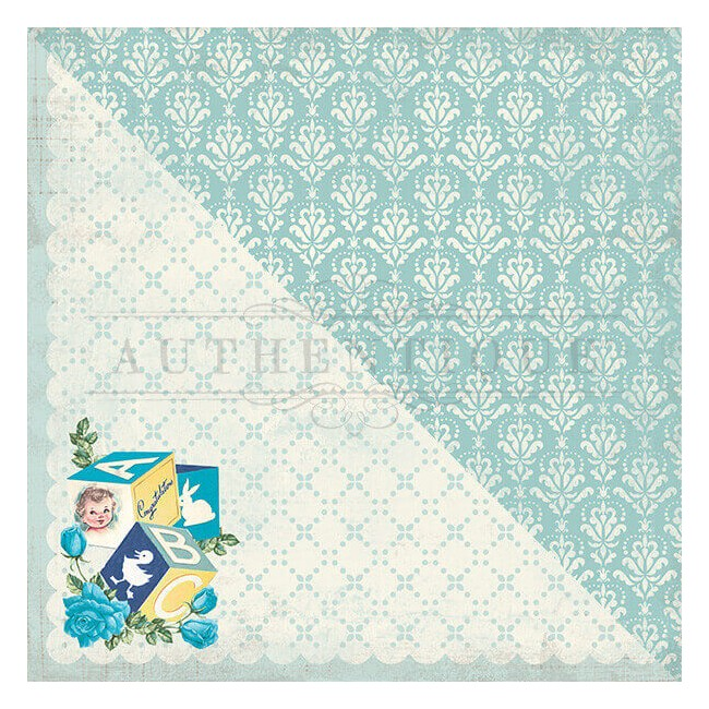 Papel Estampado Doble Cara 12x12 Swaddle Boy #2 Baby Blue Damask
