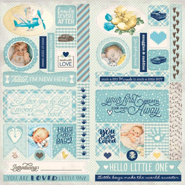 Die Cuts Swaddle Boy Elements