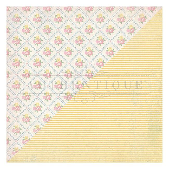 Papel Estampado Doble Cara 12x12 Swaddle Girl #3 Floral Diamond