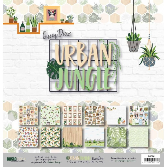 Kit Papeles Estampados 12x12 Urban Jungle Quim Diaz