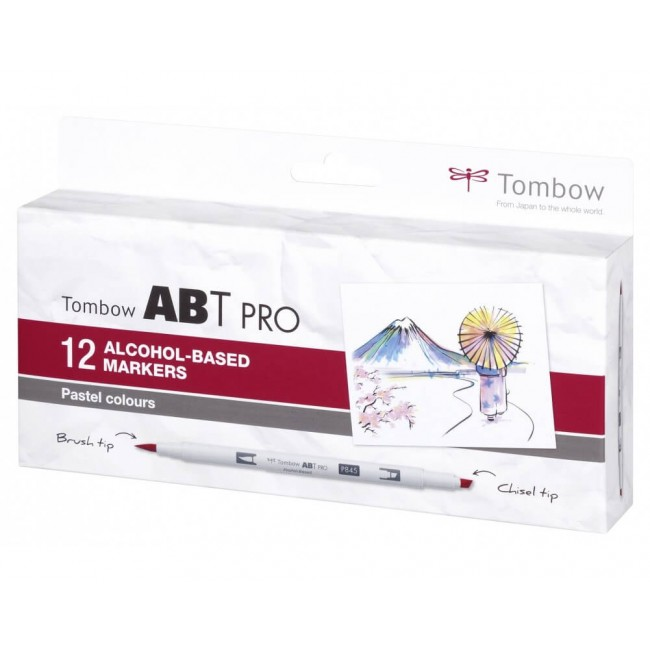 Set 12 Rotuladores Tombow ABT Pro Alcohol Colores Pastel