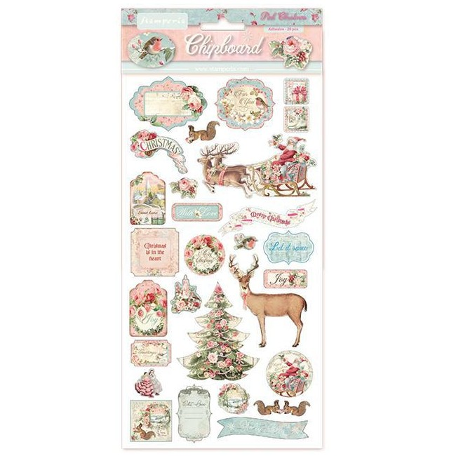 Chipboard 6x12 Pink Christmas