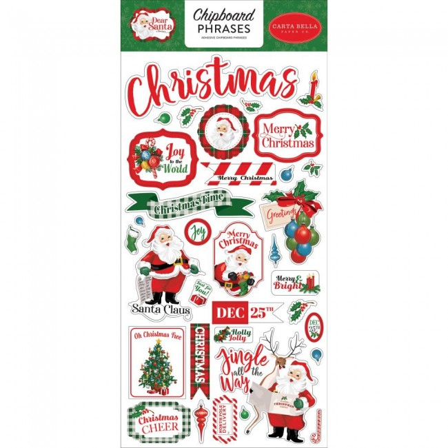 Chipboard 6x13 Dear Santa Phrases