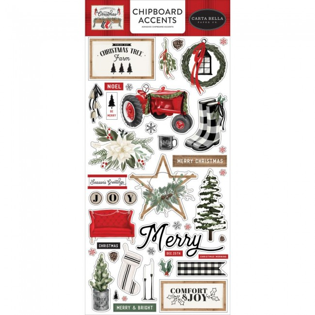Chipboard 6x13 Farmhouse Christmas Accents