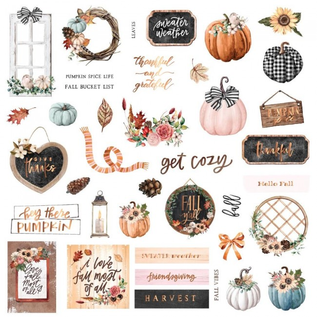 Die Cuts Pumpkin & Spice Shapes Tags Words