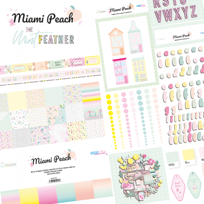 Kit Colección Scrapbooking Completa Miami Peach The Mint Feather