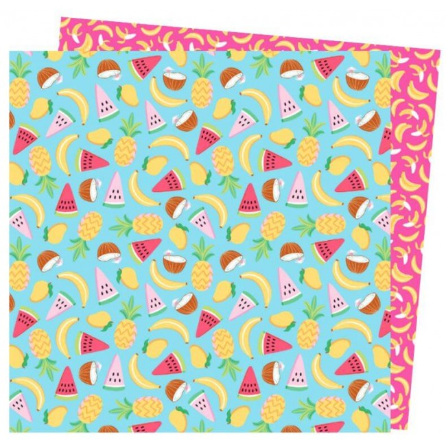 Papel Estampado Doble Cara 12x12 Wild Card Damask Love Go Coconuts!