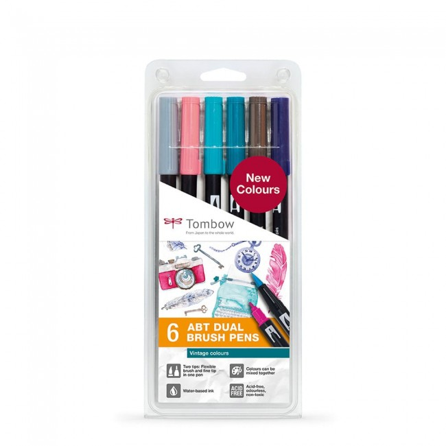 Set 6 Rotuladores Tombow Dual Brush Colores Vintage