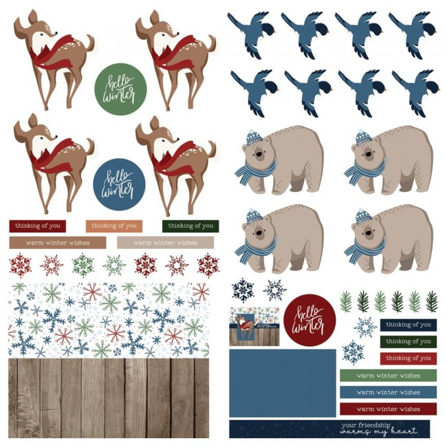 Hoja de Die Cuts 12x12 Winter Memories frames & tags