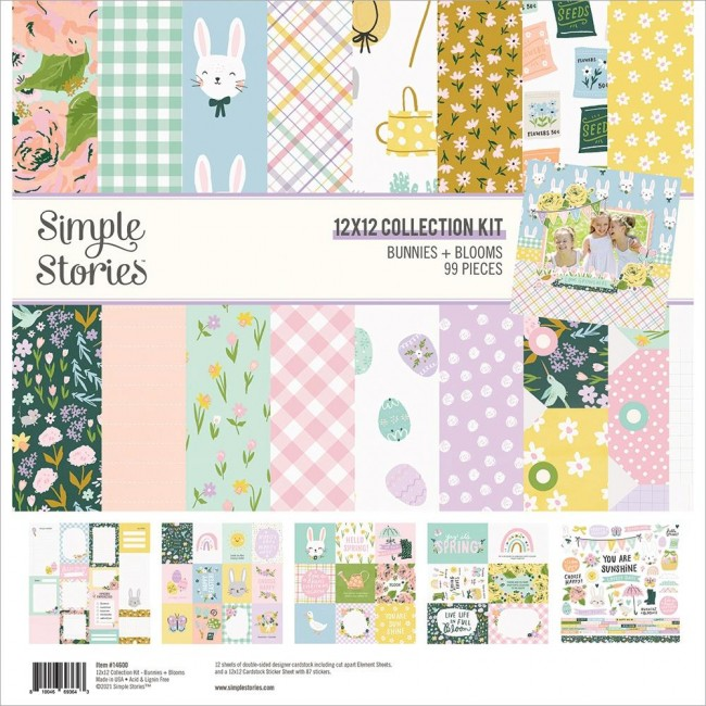 Kit Papeles Estampados 12x12 y pegatinas Bunnies & Blooms