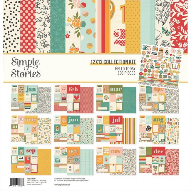 Kit Papeles Estampados 12x12 y pegatinas Hello Today