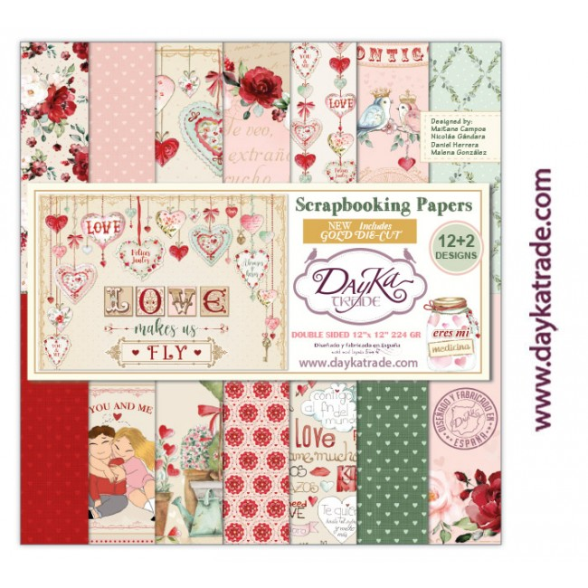 Kit Papeles Estampados 12x12 Love makes us fly con die cuts