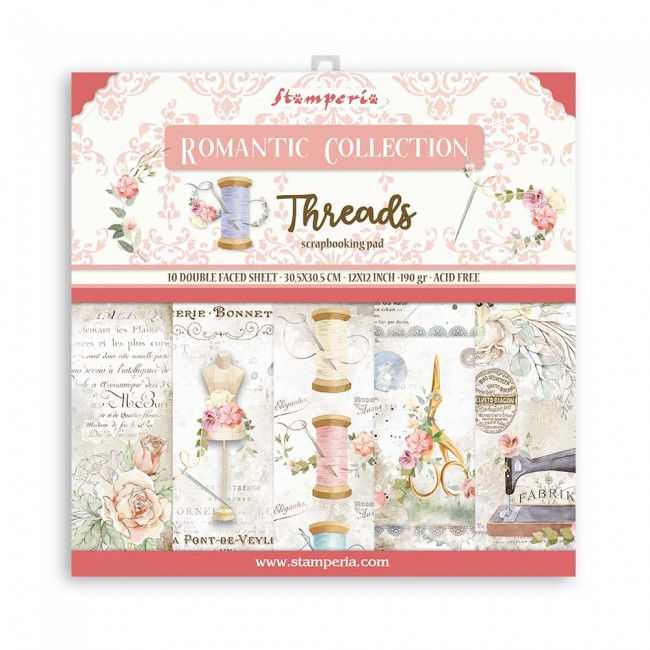 Kit Papeles Estampados 12x12 Romantic Collection Threads