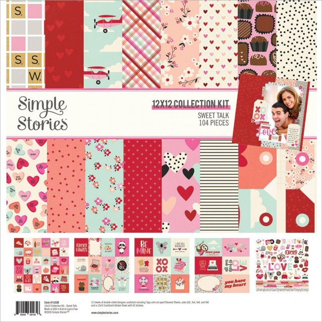 Kit Papeles Estampados 12x12 y pegatinas Sweet Talk