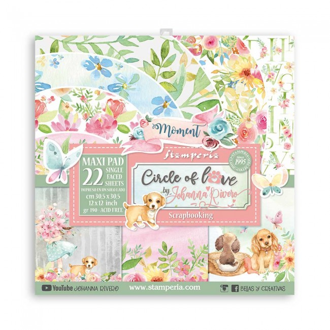 Kit Papeles Estampados 12x12 Una Cara Circle of Love Johanna Rivero