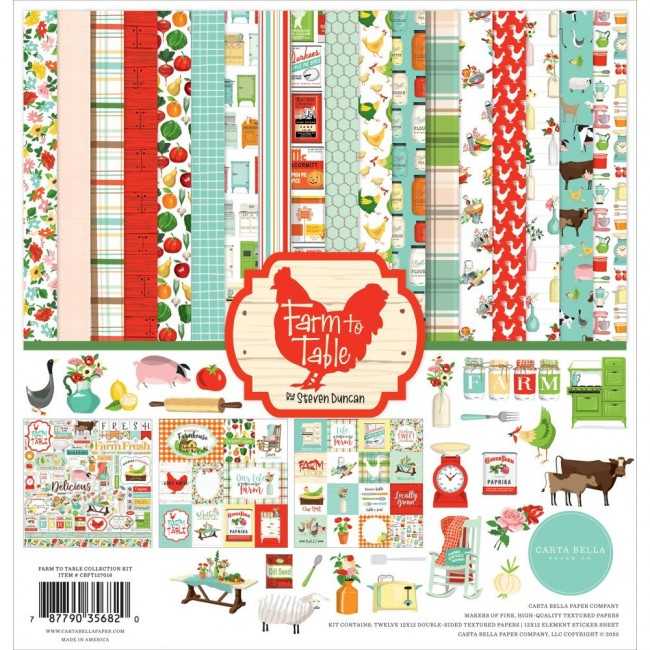 Kit Papeles Estampados 12x12 y pegatinas Farm to Table