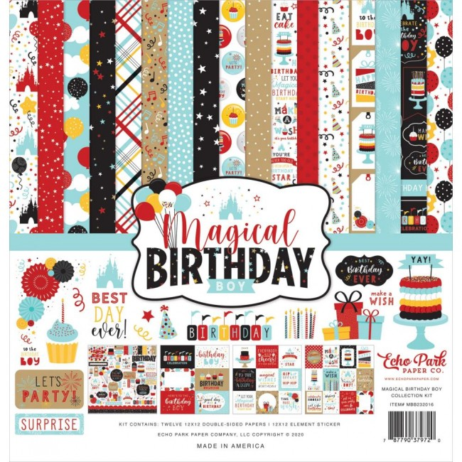 Kit Papeles Estampados 12x12 y pegatinas Magical Birthday Boy