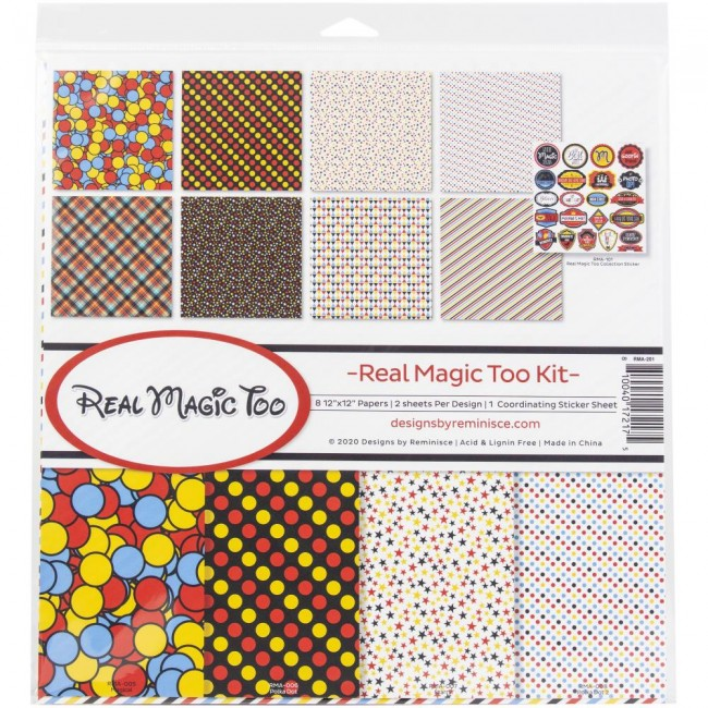 Kit Papeles Estampados 12x12 y pegatinas Real Magic Too