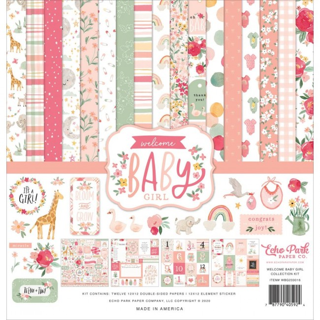 Kit Papeles Estampados 12x12 y pegatinas Welcome Baby Girl Welcome Baby Girl