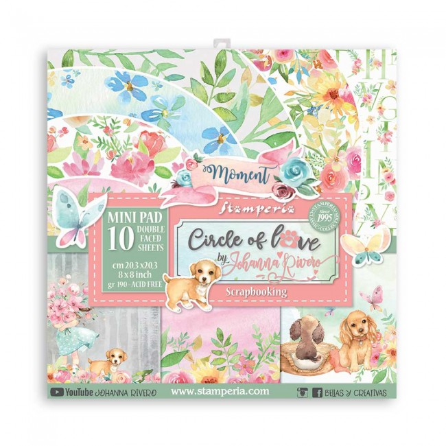 Kit Papeles Estampados 8x8 Circle of Love Johanna Rivero
