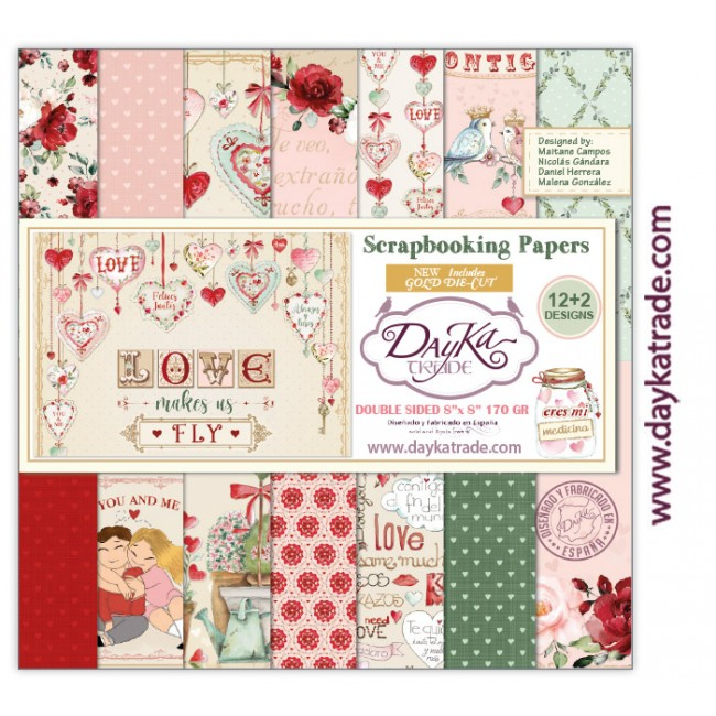 Kit Papeles Estampados 8x8 Love makes us fly con die cuts