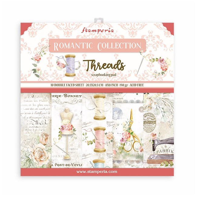 Kit Papeles Estampados 8x8 Romantic Collection Threads