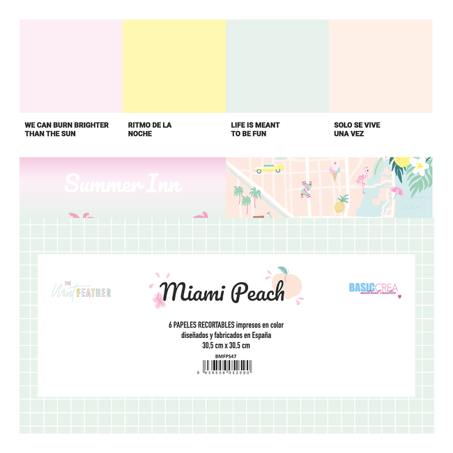 Kit Papeles Recortables Miami Peach The Mint Feather