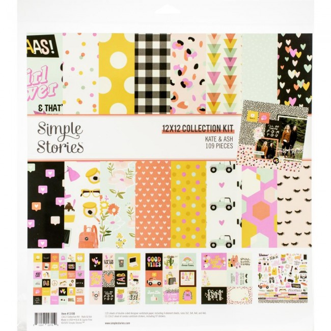 Kit Papeles Estampados 12x12 Kate & Ash