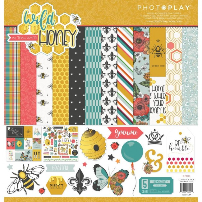 Kit Papeles Estampados 12x12 y pegatinas Wild Honey