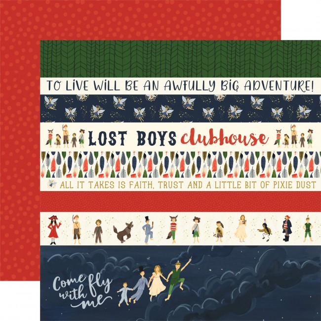 Papel Estampado Doble Cara 12x12 Lost In Neverland Border Strips