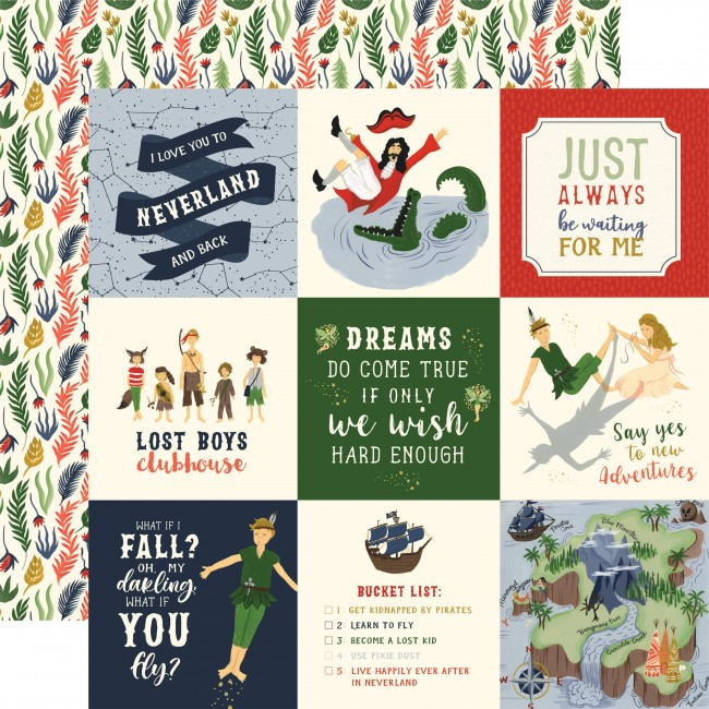 "Papel Estampado Doble Cara 12x12 Lost In Neverland 4""X4"" Journaling Cards"