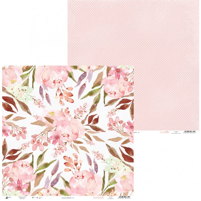 Papel Estampado Doble Cara 12x12 Love In Bloom 01