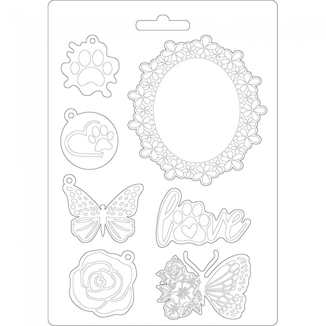 Molde A5 Circle of Love Johanna Rivero Frame and butterfly