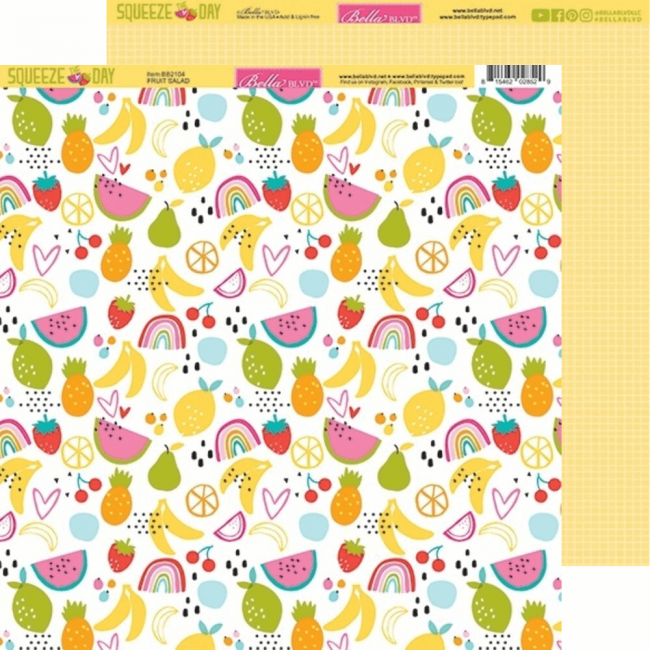 Papel Estampado Doble Cara 12x12 Squeeze The Day Fruit Salad