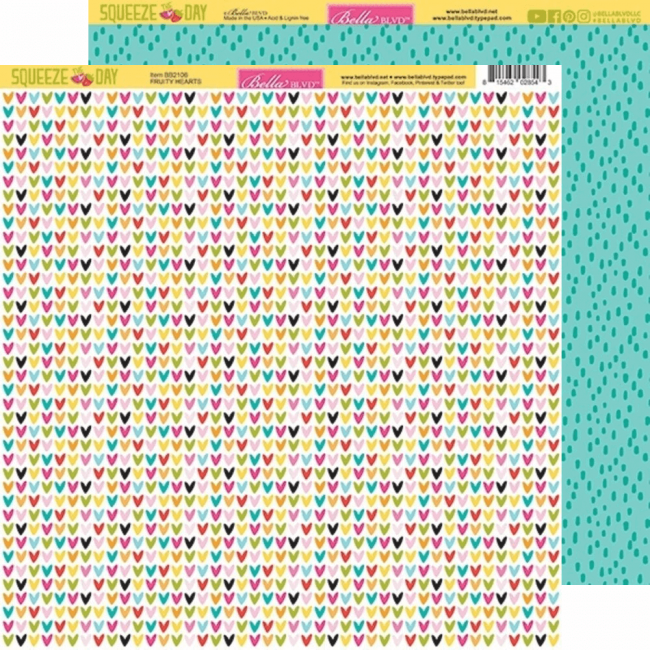 Papel Estampado Doble Cara 12x12 Squeeze The Day Fruity Hearts