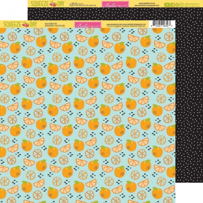 Papel Estampado Doble Cara 12x12 Squeeze The Day Orange You Glad