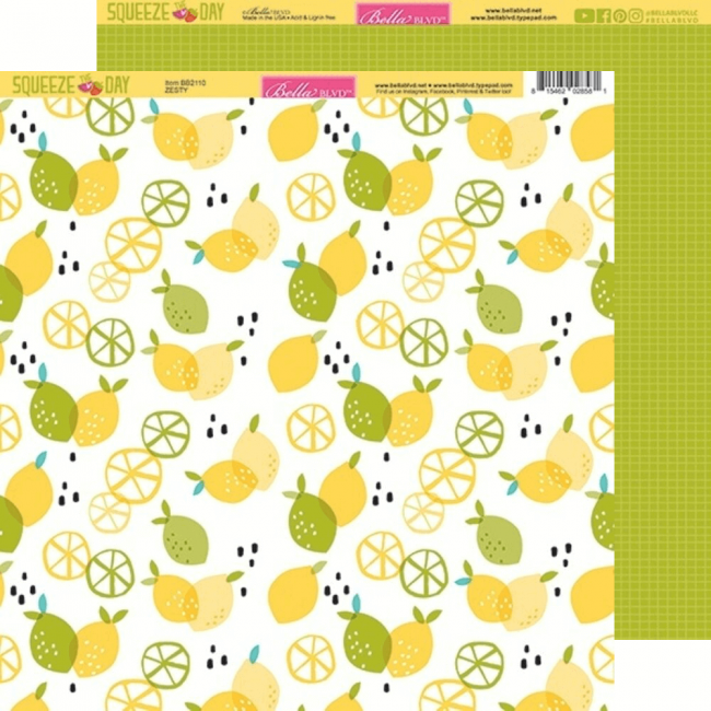 Papel Estampado Doble Cara 12x12 Squeeze The Day Zesty