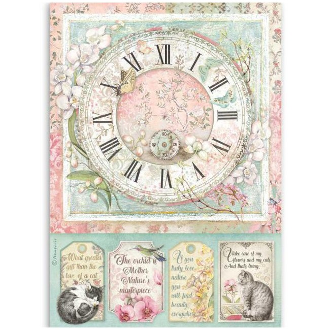 Papel de arroz decoupage A4 Orchids and Cats Reloj