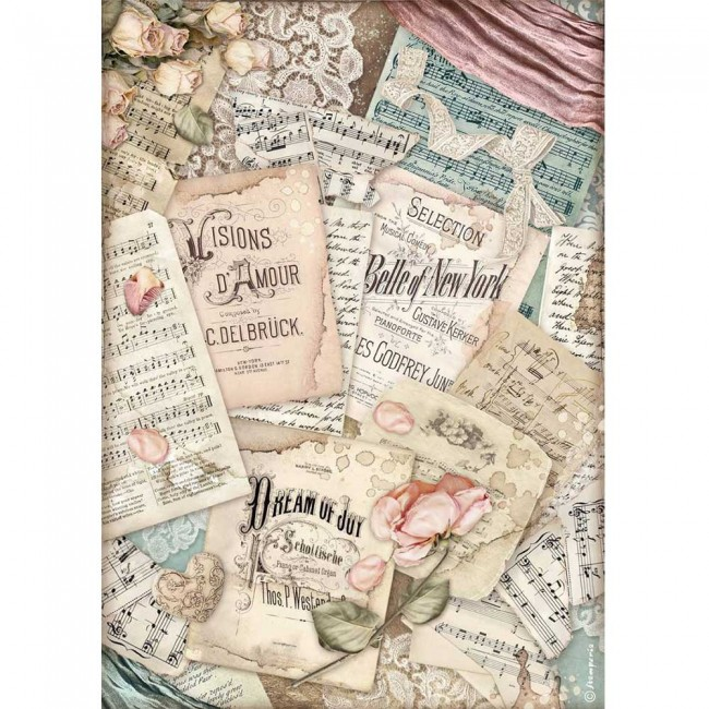 Papel de arroz decoupage A4 Passion Vision d'amour