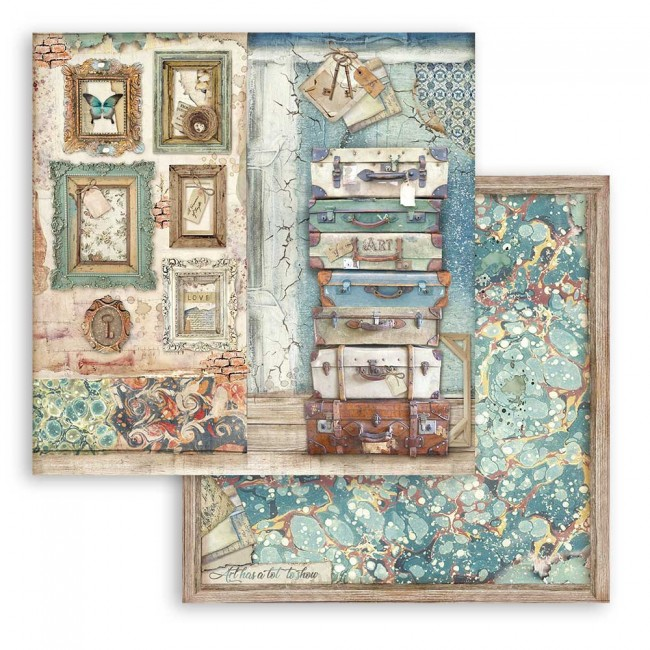 Papel Estampado Doble Cara 12x12 Atelier des Arts Sara Alcobendas Luggage