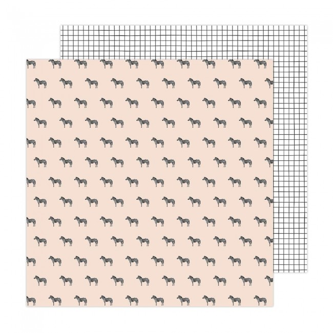 Papel Estampado Doble Cara 12x12 Brave + Bold Amy Tangerine Black and White
