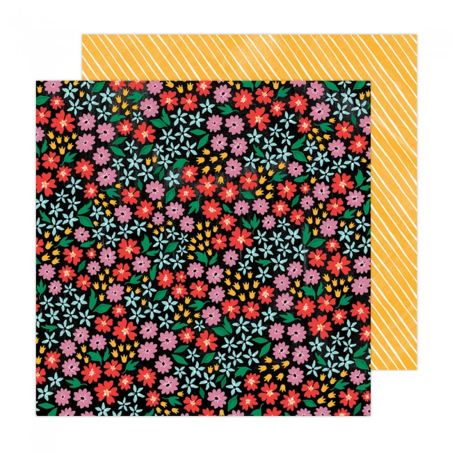 Papel Estampado Doble Cara 12x12 Brave + Bold Amy Tangerine Full Bloom
