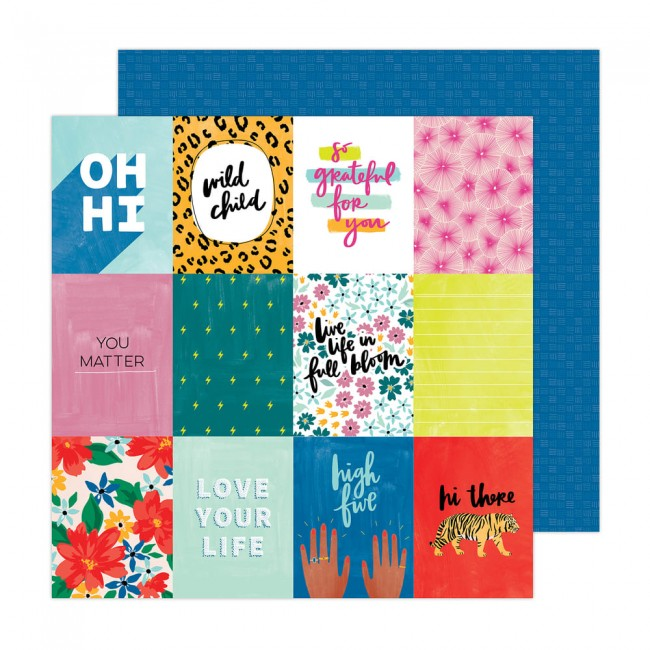 Papel Estampado Doble Cara 12x12 Brave + Bold Amy Tangerine High Five