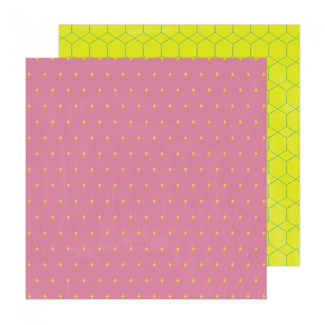Papel Estampado Doble Cara 12x12 Brave + Bold Amy Tangerine It's Electric