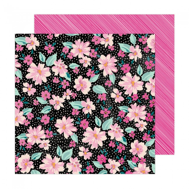 Papel Estampado Doble Cara 12x12 Brave + Bold Amy Tangerine Midnight Garden