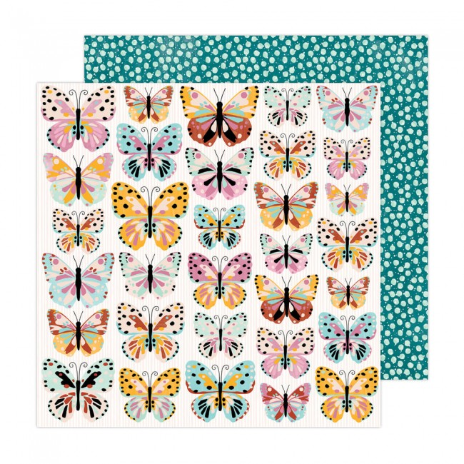 Papel Estampado Doble Cara 12x12 Brave + Bold Amy Tangerine Monarch