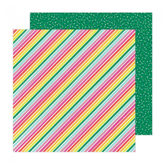 Papel Estampado Doble Cara 12x12 Brave + Bold Amy Tangerine Summer Stripes